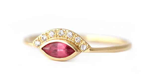 Pink Spinel Ring With Pave Diamonds by Artemer