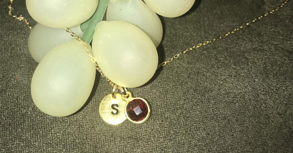 Stephanie's Eve's Addiction Hand-Stamped Yellow Gold Initial Birthstone Necklace