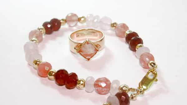 Reddish-Pink Topaz Bracelet and Silver Topaz Ring