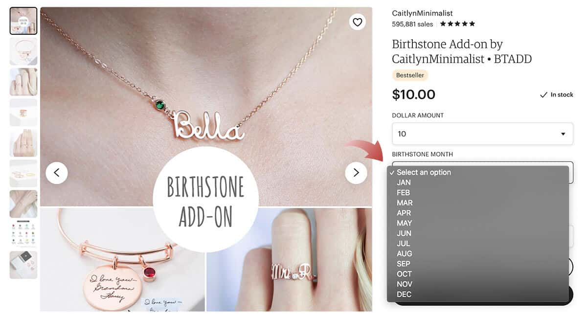 Select Your Preferred Birthstone to Add to Your Name Pendant