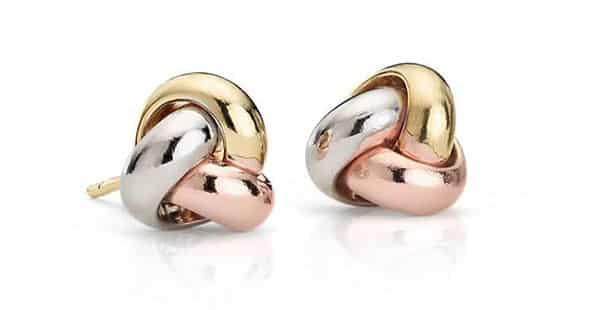14K Trio-Color Italian Gold Love Knot Earrings
