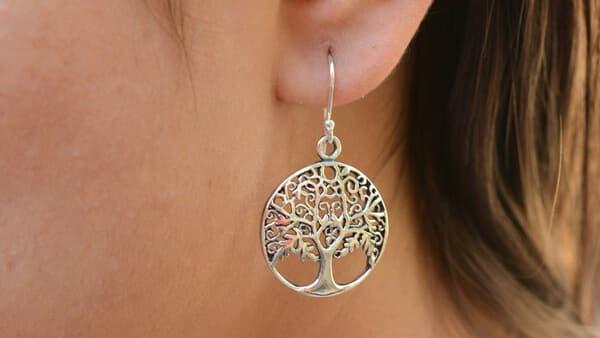 925 Sterling Silver Tree of Life Earrings - Drop Style