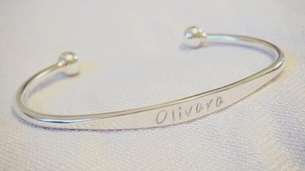 925 Sterling Silver Engraved Name Cuff Bracelet