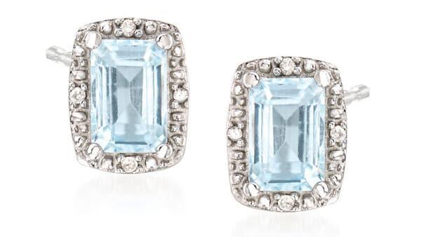 Aquamarine Gemstone Stud Earrings With Diamond Accents