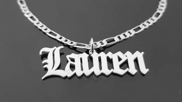 Old English and Gothic Style Name Necklaces for Men (Figaro Chain)