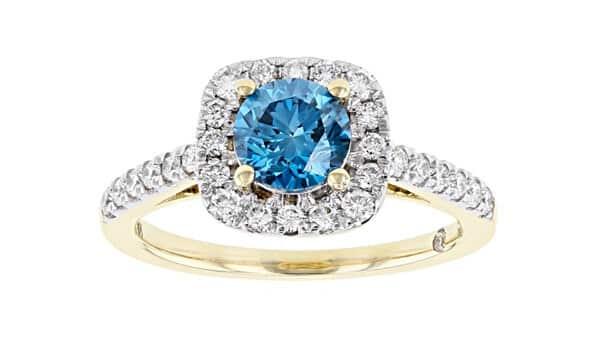 Lab-Grown Blue Diamond Yellow Gold Ring