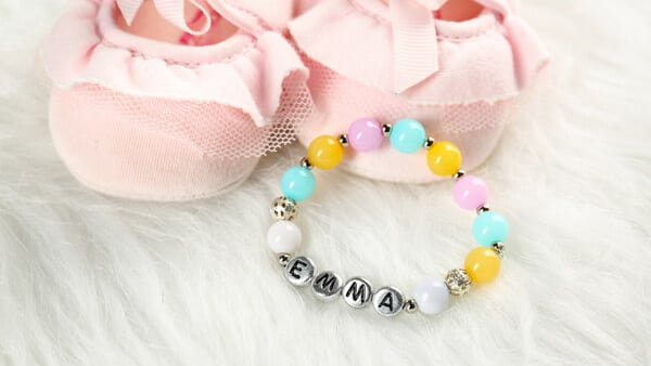 Baby Name Bracelet for Baby Emma, With Pink Baby Shoes