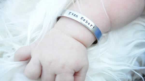 Name Cuff Bracelets for Babies in Aluminum