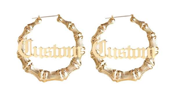 Bamboo-Style Name Hoop Earrings in Old English Font