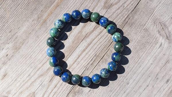 Blue-Green Azurite Gem Beaded Bracelet (Amazon)