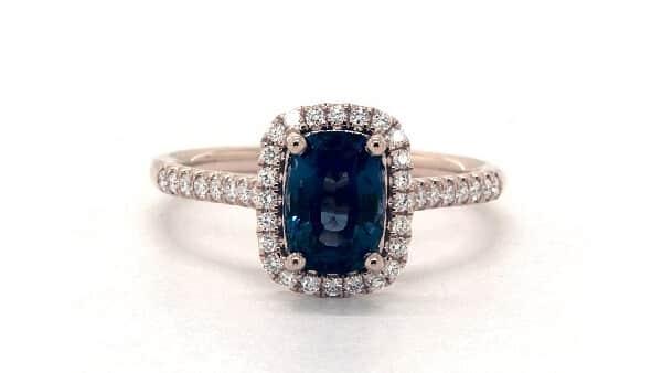 James Allen Blue Sapphire Cushion-Cut Halo Setting Engagement Ring