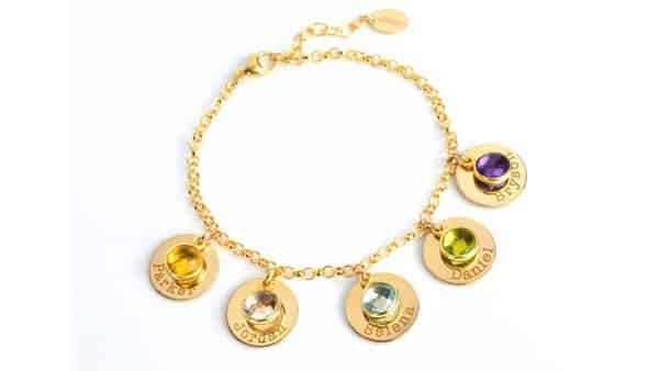 Custom Charm Bracelet With Name Charms and Birthstones