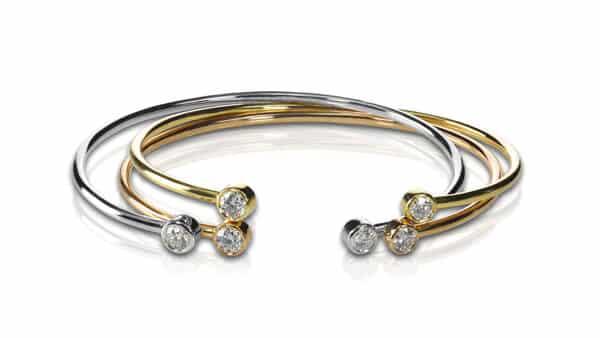 Cuff Bracelets Decorated by Small Diamonds