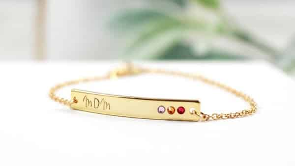 Personalized Name Bar Bracelet With a Birthstone