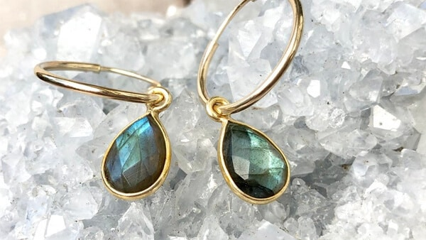 Custom Gold-Filled Drop-Style Gemstone Earrings: Labradorite Gem and More
