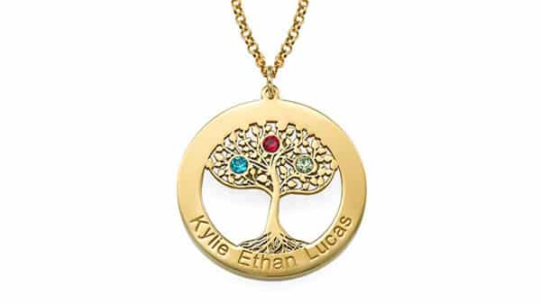 Gold Plated Tree of Life Birthstone Pendant Necklace With Cable Chain