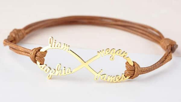 Custom Infinity Name Bracelet With Leather Cord: Nice Gift for Mom