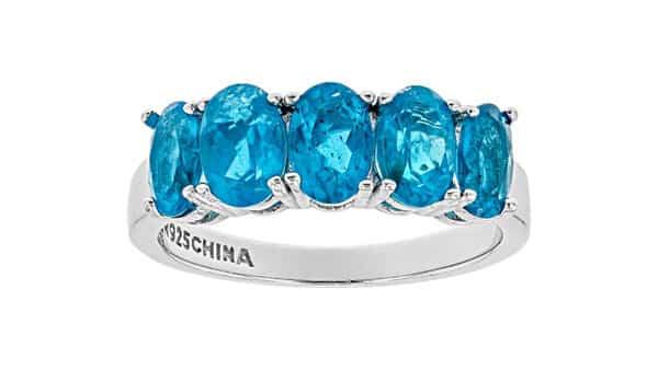 Neon Apatite Gemstone Sterling Silver Ring (JTV)