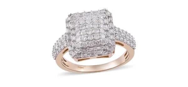Rhodium-Plated Yellow Gold Diamond Ring - Overstock