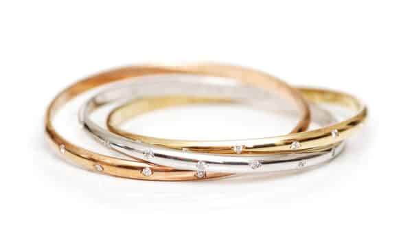Bangle Bracelets in Yellow, Rose and White Gold