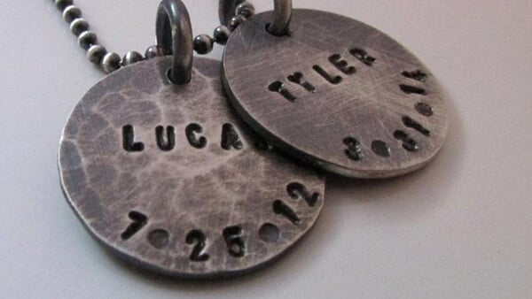 Rustic Style Stamped Name Pendant Necklaces for Men