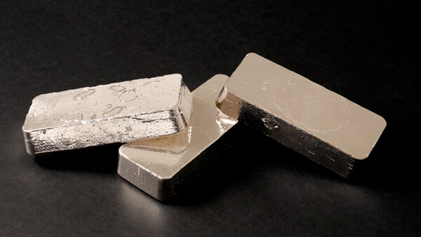Silver Metal Bars on Black Background