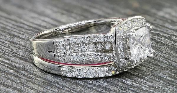 Simulated Diamond Wedding Bands With Rhodium Plating (Etsy)