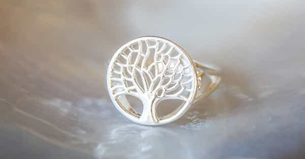 Sterling Silver Ring With Tree in Mandala Shape