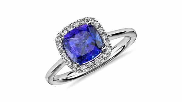 Tanzanite Cushion and Diamond Halo Ring by Blue Nile