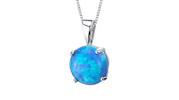 White Gold Created Blue Opal Solitaire Pendant Necklace