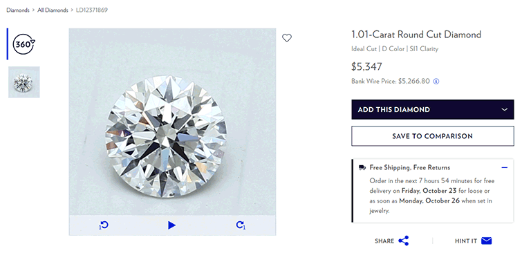 A Blue Nile Diamond With Similar Characteristics of the One from James Allen