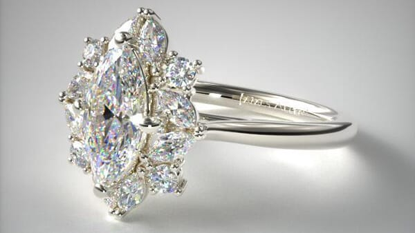 Marquise Cluster Halo Diamond Engagement Ring in White Gold