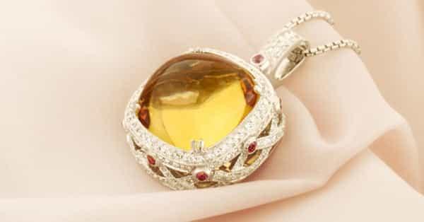 Yellow Citrine Pendant With Diamond Accents