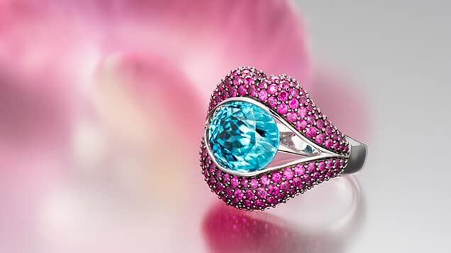Blue Zircon Ring With Rubies