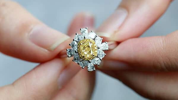 Cushion-Cut Yellow Zircon Engagement Ring in Vintage Style