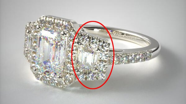 Three Stone Diamond Ring: Emerald Cut With Trapezoid Shaped Side Stones