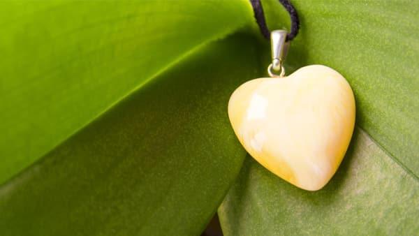 Heart-Shaped Yellow Amber Pendant