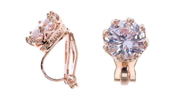 Mini-Clip Earrings With Cubic Zirconia in Rose Gold