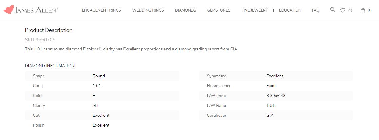 More Detail Regarding the Chosen Diamond's Qualities