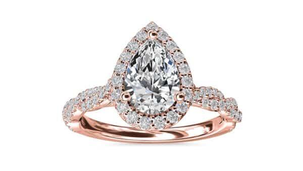 Pear Diamond in Rose Gold Halo Setting