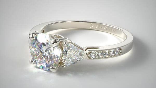 14K White Gold Round Cut Diamond Ring With Triangle Side Stones