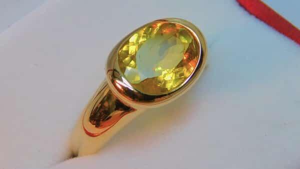 Yellow Colored Gem Jewelry: Yello Tourmaline Ring (AAAA)