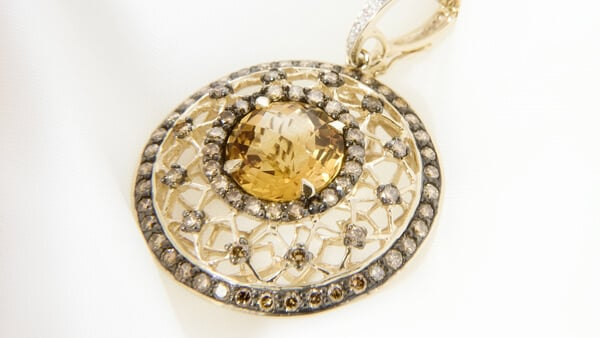 Yellow Gold Round Pendant With Citrine and Small Diamonds