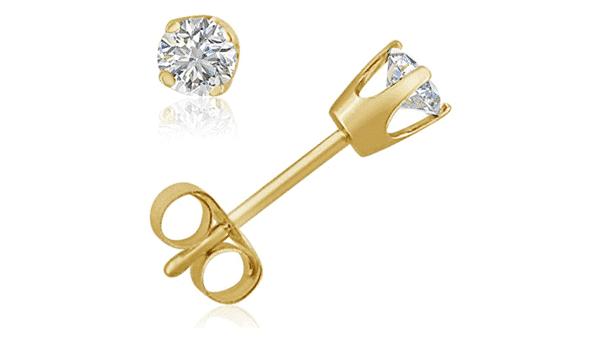 Crown Setting Diamond Stud Earrings With Push Backing