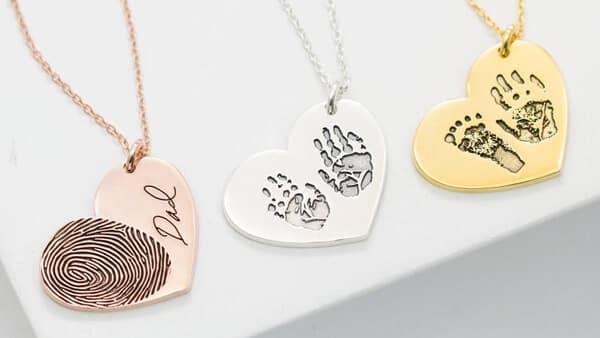 Actual Fingerprint Necklace • Engraved Fingerprint Handwriting Jewelry • Custom Heart Charm