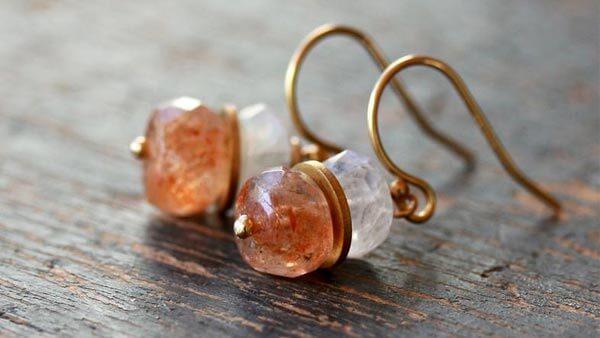 Orange Oregon Sunstone Drop Style Earrings