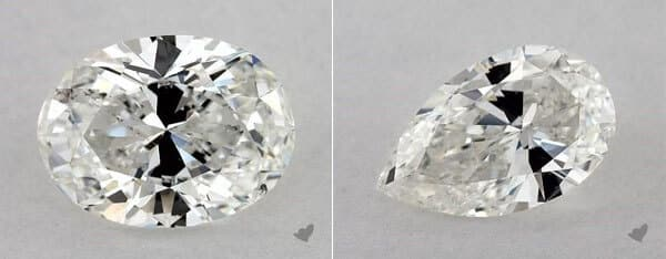 Bow-Tie Effect in an Oval and a Pear Diamonds