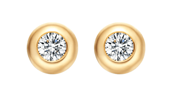 Dainty Solitaire Round Diamond Studs in Bezel Setting