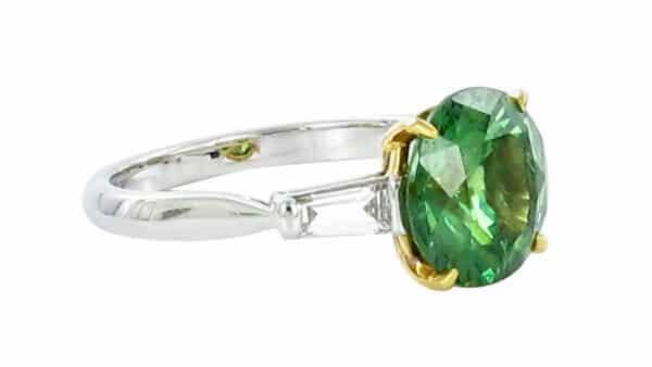 Demantoid Garnet and Diamond White Gold Ring - 1stDibs