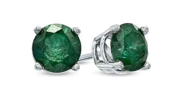 Enhanced Green Diamond Solitaire Stud Earrings